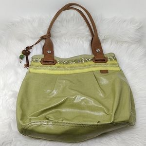 Fossil Key-per Green Coated Canvas Tote Bag